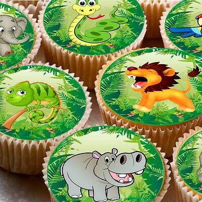 24 Edible wafer Fairy cupcake cake toppers decorations ND2 Jungle animals snake