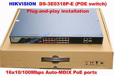 Hikvision DS-3E0318P-E 16 Port PoE+100mbps Auto unmanaged switches Plug-and-play