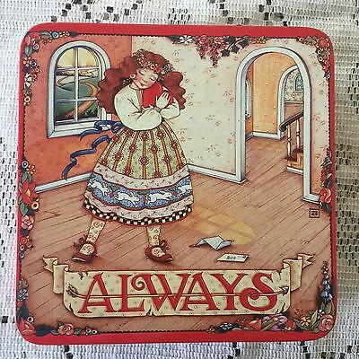 "Vintage Mary Engelbreit ""Always"" Girl with Heart Square Tin Midwest Cannon Falls"