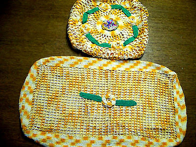 Vintage Crocheted Toilet Tank & Seat Cover