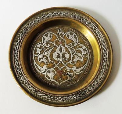 ISLAMIC DAMASCENE SILVER Inlaid PIN DISH c1900 Arabic Mamluk Revival