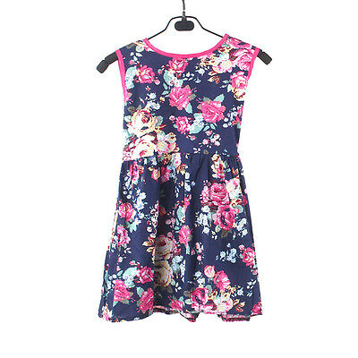 Girls Flower dress Princess Party Kids Formal Sleeveless Floral Cotton Dress L