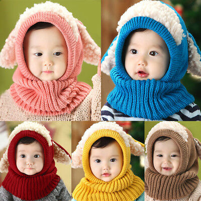 Winter Baby Kids Girls Boys Warm Knit Woolen Coif Hood Collar Scarf Caps Hat
