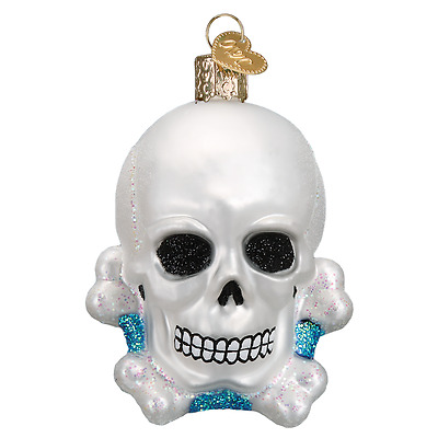 """""""Skull and Crossbones"""" (26081) Old World Christmas Glass Ornament w/OWC Box"""