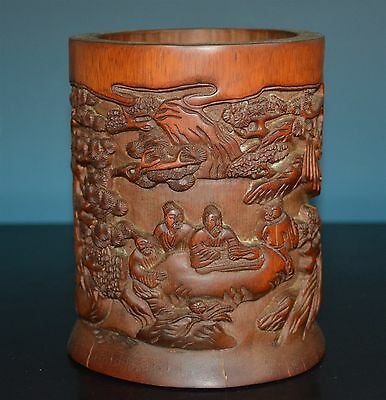 Fine Chinese Well Carved Bamboo Brush Pot Rare W8412