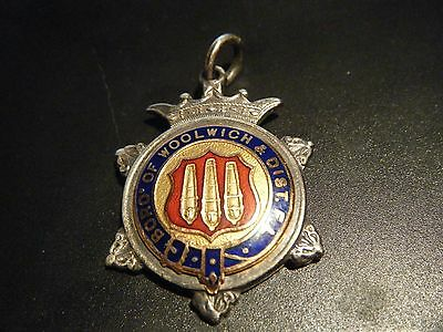 Vintage Antique Silver Enamel Football Medal Fob Hallmarked London 1930 Woolwich