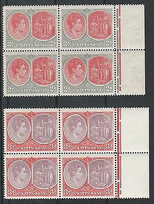 St Kitts Nevis 1938 Kgvi Medicinal Springs 2D And 3D Mnh ** Blocks Perf 14
