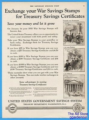 1922 US Government War Savings Stamps WSS Treasury Department Certificates Ad