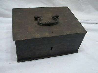 Early Antique Cast Iron Locking Strong Box Treasure Chest