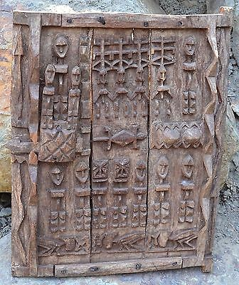 Antique Dogon African Wood Granary House Door Window Shutter Sliding Lock - Mali
