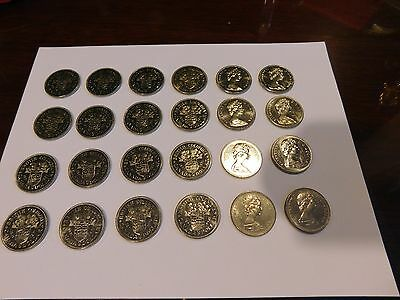 Lot of 24 $1 Canadian 1 Dollar Coins 1871 1971 UnCirculated Canada - Super Clean
