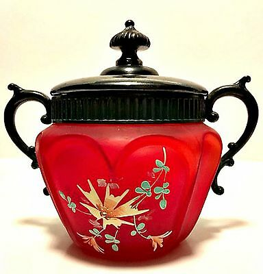 Antique Victorian Frosted Cranberry Red Glass Biscuit or Vanity Jar w/ Metal Lid