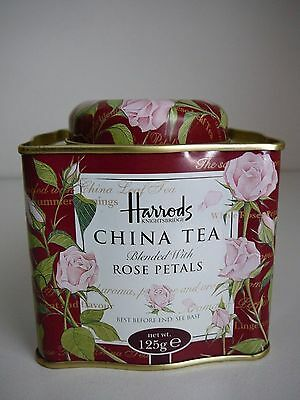 Harrods China Tea Tin Pink Roses Advertising Pretty Collectable