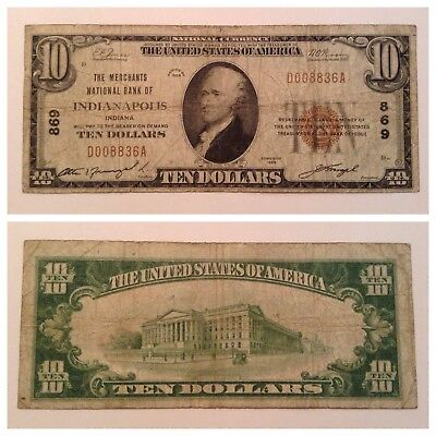 Vintage 1929 Type 1 $10 National Bank Note Currency Ten Dollar Bill Indianapolis