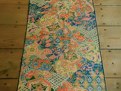 Vintage Chinoiserie Silk Fabric ~ Boho patchwork pattern ~ orange blue green