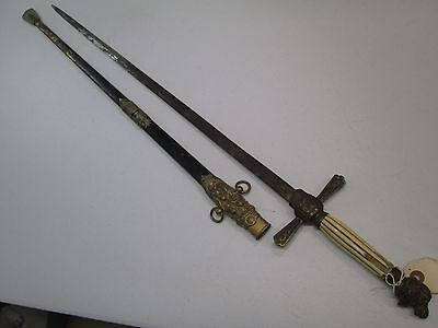 Early Militia Style Fraternal Sword With Scabbard #a98