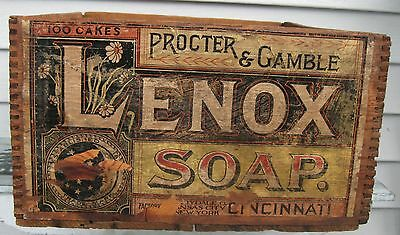 Antique Proctor & Gamble Lenox Soap Dovetailed Box Graphics All Sides Cinncinati