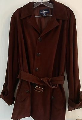 Vintage Ralph Lauren Brown Suede Short Belted Coat Size 12 US (16 UK)