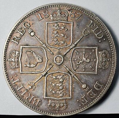 1887 Great Britain Silver Double Florin - XF