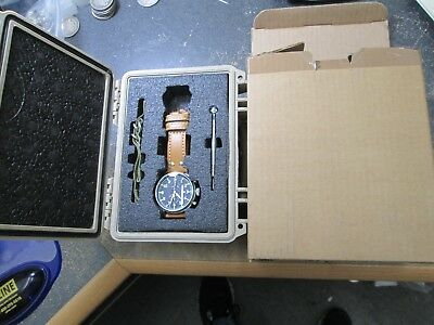 HUGUENIN OBSERVER CHRONOGRAPH MILITARY WRIST Watch IN ORIGINAL BOXES
