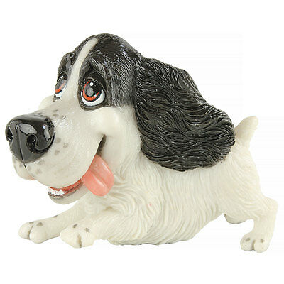 "Little Paws ""Tink"" Black & White Springer Spaniel Dog Figurine 5.5"" Long New!"