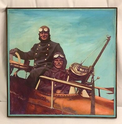 WWI US Army Pilot & Gunner Large Framed Painting
