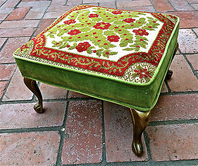 Vntg Foot Stool Velvet Embroidered Needle Point Fabric Tapestry Bench Iron Feet