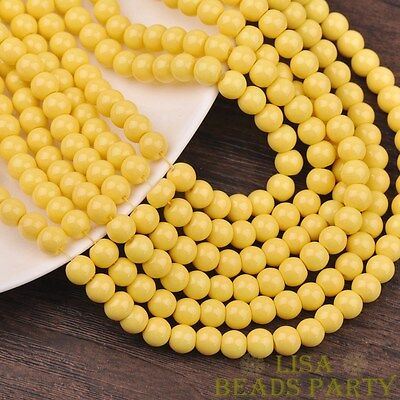 New 100pcs 4mm Round Glass Loose Spacer Beads Jewelry Findings Light Yellow