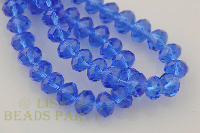 10pcs 8X12mm Rondelle Faceted Loose Spacer Crystal Glass Beads Crafts Blue