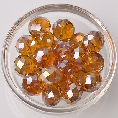10pcs 16x12mm Rondelle Faceted Crystal Glass Loose Beads Amber AB