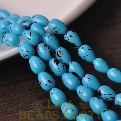 New 20pcs 11X8mm Teardrop Colorized Dots Loose Glass Spacer Beads Lake Blue