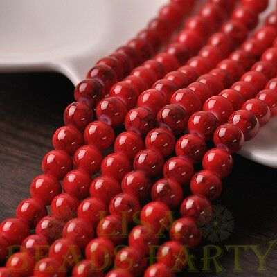 New 50pcs 6mm Round Charms Loose Spacer Glass Beads Jewelry Making Red