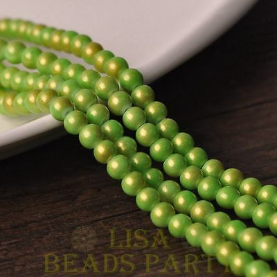 New 50pcs 6mm Round Gold Dust Glass Charms Loose Spacer Beads Light Green