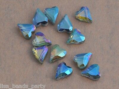 10pcs 12mm Heart Faceted Crystal Glass Charms Loose Beads Jewelry Findings Green