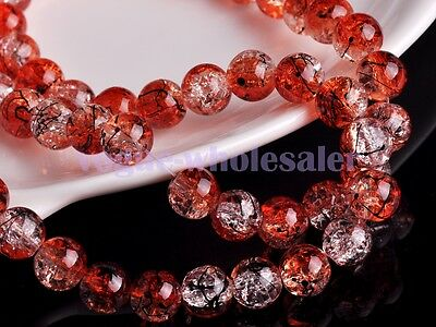 20pcs 10mm Round Crystal Glass Ball Charms Loose Spacer Handmade Beads Red