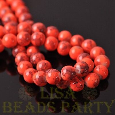 New 25pcs 8mm Round Charms Loose Spacer Glass Beads Jewelry Making Orange Red