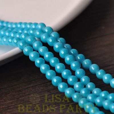 New 50pcs 6mm Round Silver Dust Glass Charms Loose Spacer Beads Lake Blue