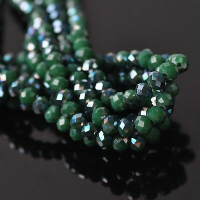 200pcs 6x4mm Rondelle Faceted Crystal Glass Loose Beads Green&Opaque Green