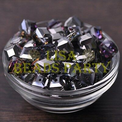 New 10pcs 10mm Cube Square Crystal Glass Loose Spacer Beads Silver Colorful