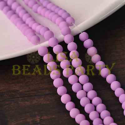 New! 100pcs 4mm Rubber Like Round Loose Glass Spacer Beads Findings Light Purple