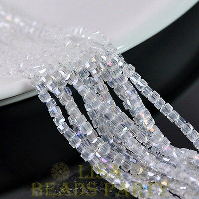100pcs 4mm Cube Square Faceted Crystal Glass Loose Spacer Beads Clear AB