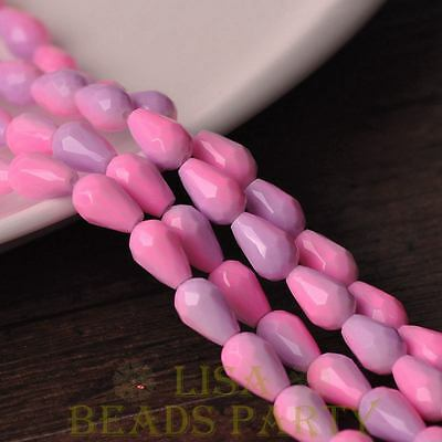 New 15pcs 12X8mm Teardrop Faceted Glass Loose Spacer Beads Pink&Baby Purple