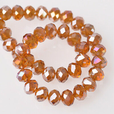 200pcs 6x4mm Rondelle Faceted Crystal Glass Loose Beads Amber AB