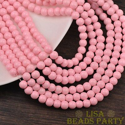 New 100pcs 4mm Round Glass Loose Spacer Beads Jewelry Findings Light Pink