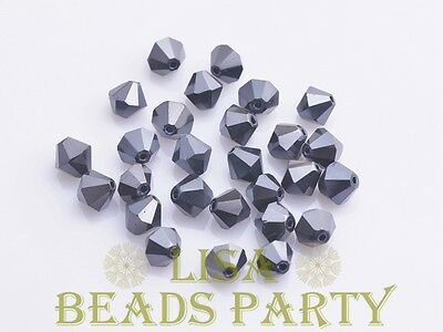 New 100pcs 4mm Bicone Faceted Crystal Glass Loose Spacer Beads Bulk Gun Black