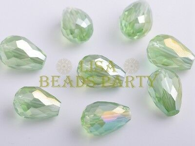 10pcs 15X10mm Teardrop Faceted Crystal Glass Loose Spacer Beads Lt Green AB