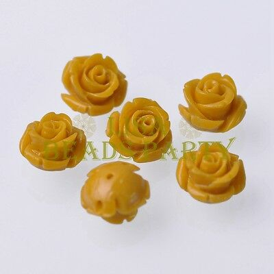 New 10pcs 12mm Rose Flower Synthetic Coral Charms Loose Spacer Beads Topaz