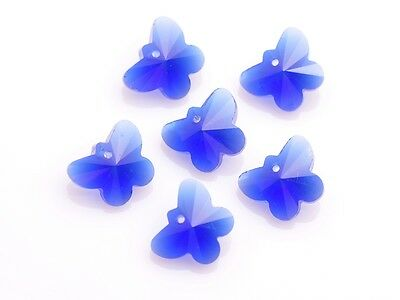 10pcs Royal Blue Butterfly Crystal Glass Beads Loose Charm Pendants 15x12mm