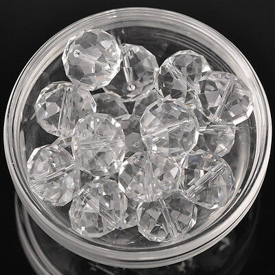 10pcs 18x13mm Large Rondelle Faceted Crystal Glass Loose Beads Clear