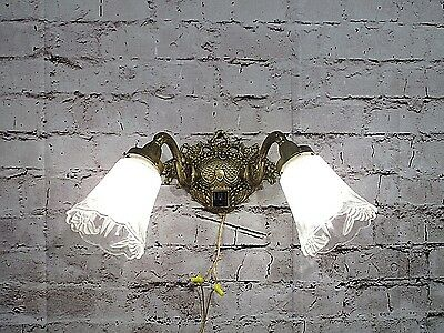Antique Vintage Sconce Bronze Ornate 2 Light Glass Shades Rewired Wall Lamp